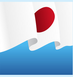 Japanese flag wavy abstract background vector