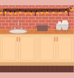 kitchen room interior with sink and dishes vector image
