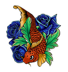 koi fish and hibiscus line vector image