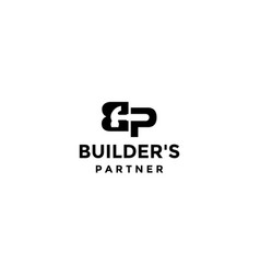 Letter b and p with hammer logo design concept vector
