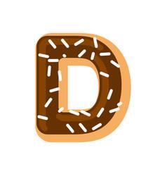 letter d donut font doughnut alphabet sweet vector image