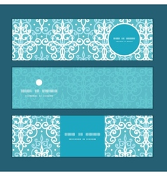 Light blue swirls damask horizontal banners vector