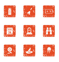 Magic day icons set grunge style vector