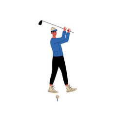 man with golf club male athlete character in vector image