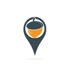 Map pin and acorn logo design vector