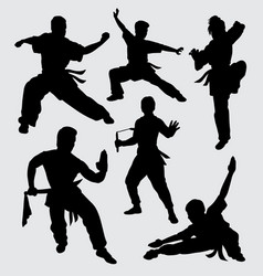 martial art silhouette vector image