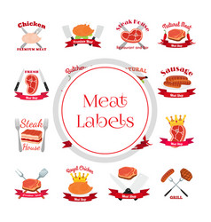 meat chicken sausage labels pack-logo for market vector image
