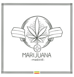 Medical marijuana logo black nine vector