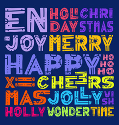 merry christmas lettering design set hand draw vector image