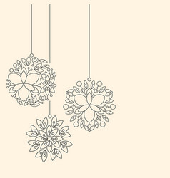 Minimalism linear floral christmas ball toys on vector