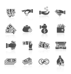 Money icon black vector image