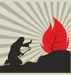 Moses and burning bush vector