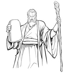 moses line art vector image