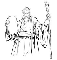 Moses line art vector