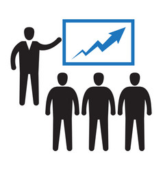 office worker pointing on graph diagram audience vector image