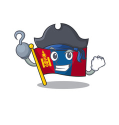 One hand pirate flag mongolia scroll cartoon style vector