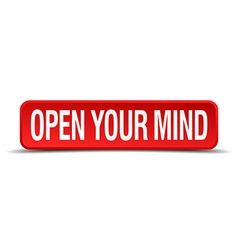 Open your mind red 3d square button isolated on vector