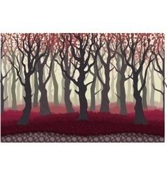 Parallax cartoon mysterious forest landscape vector