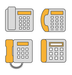 phone flat line icon set vector image
