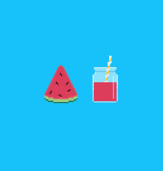 pixel art watermelon smoothie vector image
