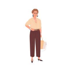 Portrait smiling businesswoman standing vector