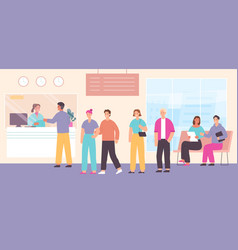 queue to bank cashier customers wait in line vector image