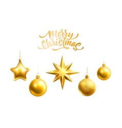 realistic christmas tree decor balls stars vector image