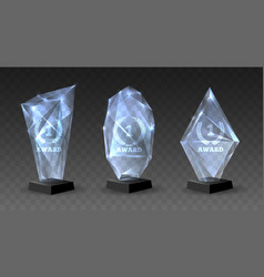 realistic glass trophies vector image