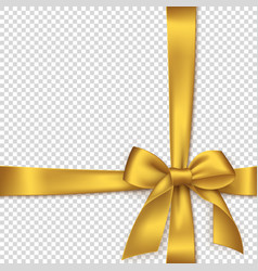 realistic golden bow and ribbon vector image