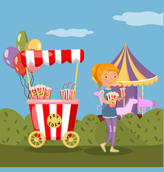 red popcorn booth and girl eating popcorn in vector image