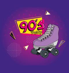 Roller skate nineties art style icon vector