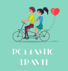 romantic travel couple riding on twin bike vector image