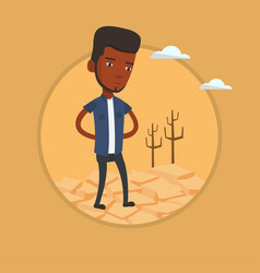 sad man in the desert vector image