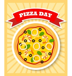 Seafruit pizza day vector