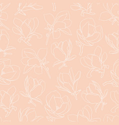 seamless pattern with white blooming magnolia vector image