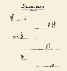set drawn seaside view people beach sketch vector image