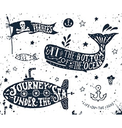 Set of nautical elements vector image