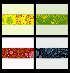 Set of sketched flower print in bright colors vector