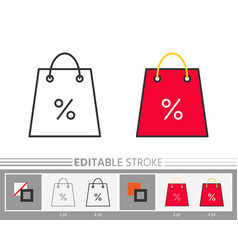 shopping bag percent clearance sale linear icon vector image