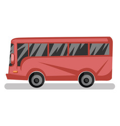 Side view of red bus on white background vector