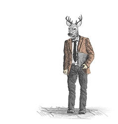 Skech of hipster deer business person on White vector