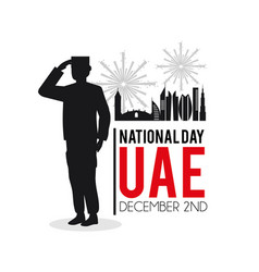 Soldier with uae patriotic national day vector