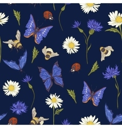 Summer Vintage Seamless Pattern with Blooming vector image