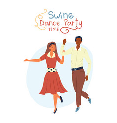 Swing dance party time concept young pretty vector