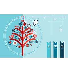 Techno social network tree design vector image
