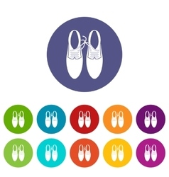 Tied laces on shoes joke set icons vector image