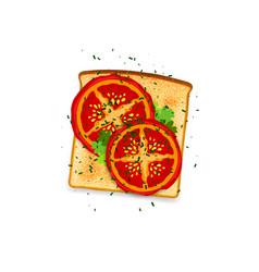 Tomato toast vector