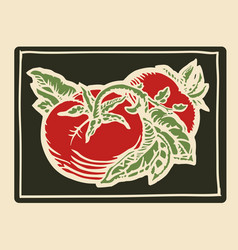 tomatoes woodcut vector image