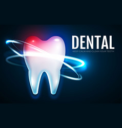 Tooth treatment with motion lights stomatology vector