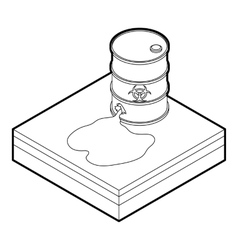 Toxic waste spilling from barrel icon vector